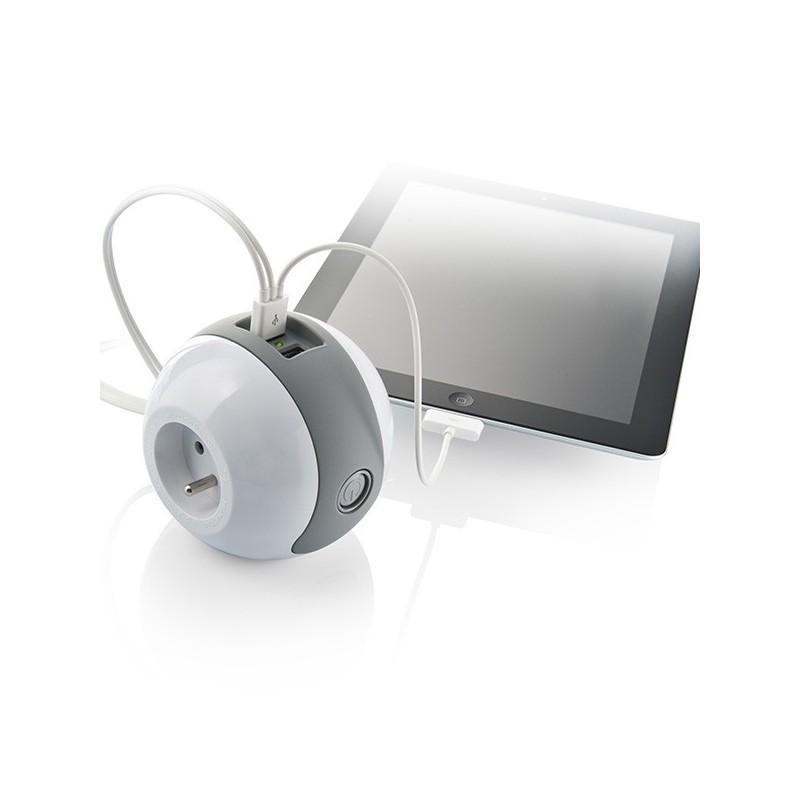 multiprise design compacte et mobile watt 39 ball blanc gris. Black Bedroom Furniture Sets. Home Design Ideas