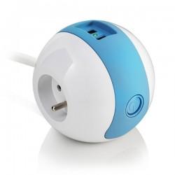 Multiprise design compacte et mobile WATT'BALL blanc/bleu