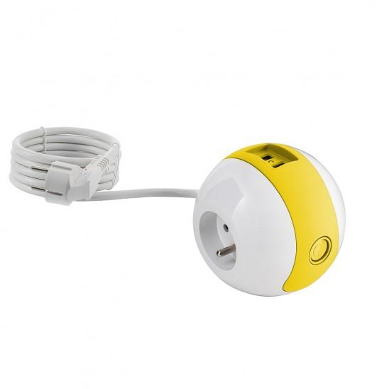 Multiprise design compacte et mobile WATT'BALL blanche