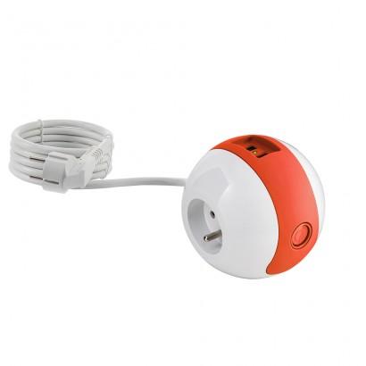 Multiprise design compacte et mobile WATT'BALL blanc/jaune