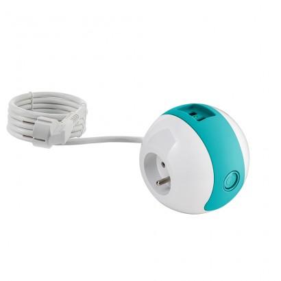 Multiprise design compacte et mobile WATT'BALL blanc/rouge