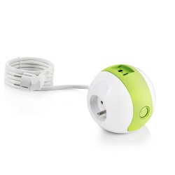 Multiprise design compacte et mobile WATT'BALL blanc/vert anis
