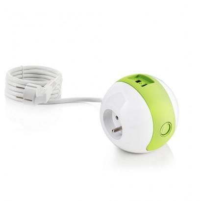 Multiprise design compacte et mobile WATT'BALL blanc/vert anis