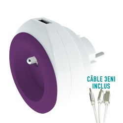 PRISE AVEC PORT USB REVERSIBLE BEWATT BLANC/VIOLET